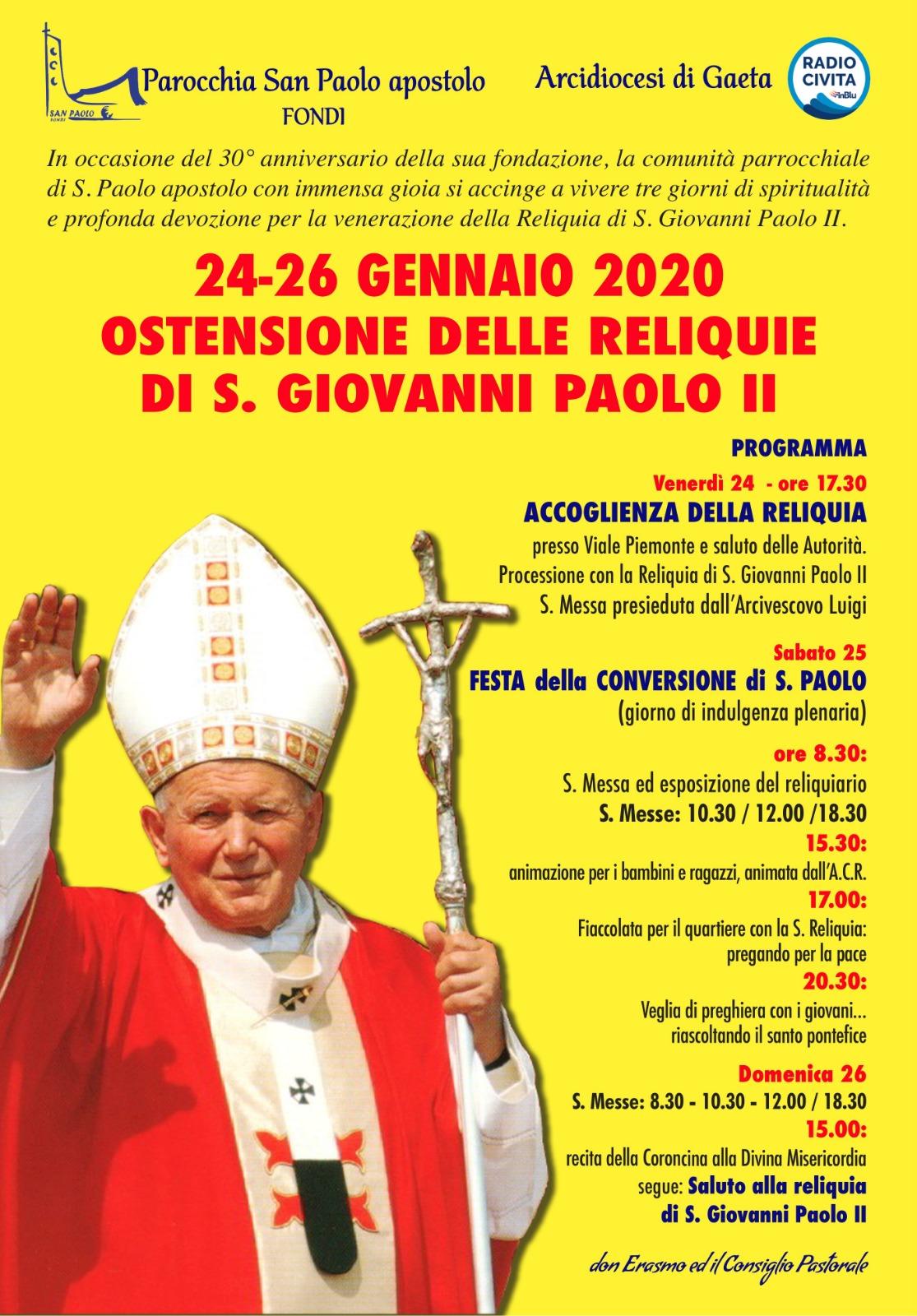 Ostensione  Reliquia di S. Giovanni Paolo II Parrocchia San Paolo Fondi.jpeg